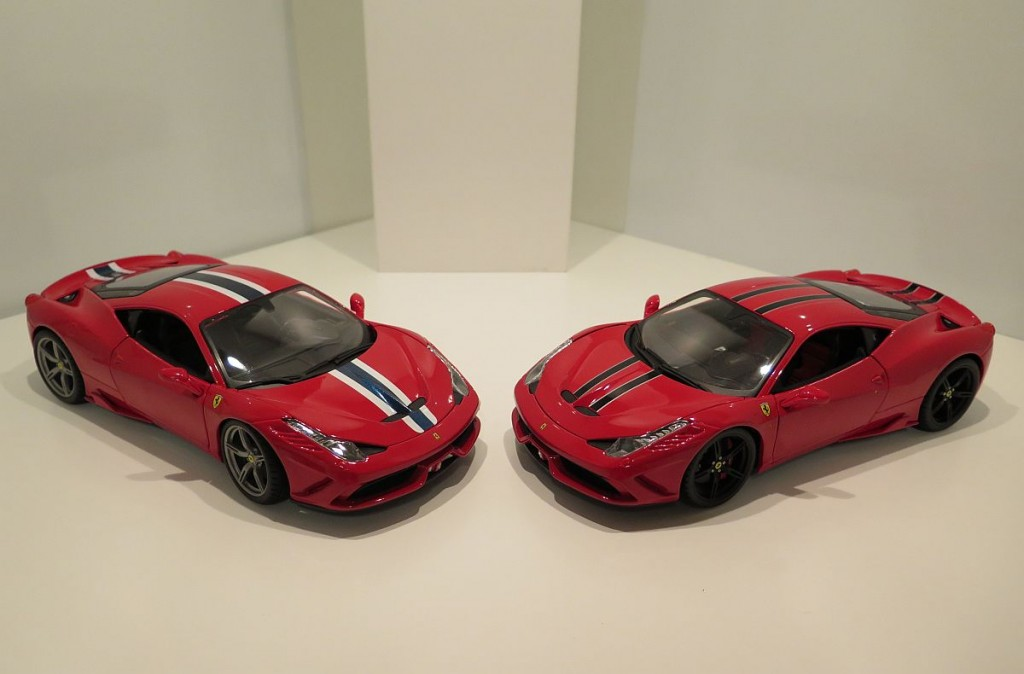 "Links: Der Ferrari 458 Speciale in der Race & Play-Variante. Rechts: die ""Signature Series""-Version."